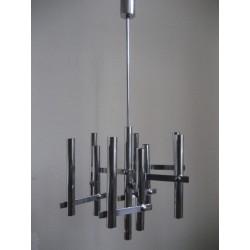 Chromen vintage hanglamp met 9 lichtpunten in de stijl van Sciolari