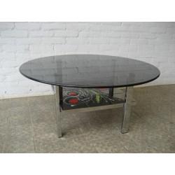 Vintage salontafel, tegeltafel met glasplaat