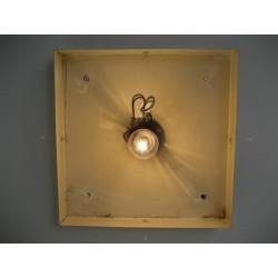Vintage plafondlamp, Plafonnière met kunststof platen in verchroomde profielen