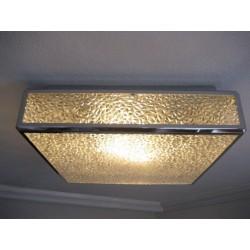 Vintage plafondlamp, plafonniere met kunststof platen in verchroomde profielen, 71 x 71 cm