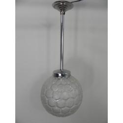 Art Deco hanglamp met ronde glazen bol