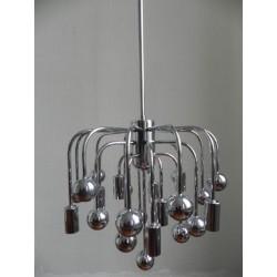 Vintage Sputnik lamp met 9 lichtpunten en 16 verchroomde bollen, hanglamp