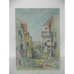 Schilderij dorpsgezicht, A. Mendola