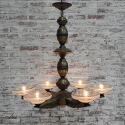 Bronzen Art Deco hanglamp met 6 glazen schalen