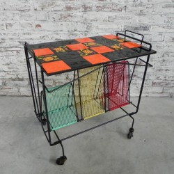 Colorful serving trolley 60s