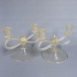 2 glass Italian candlesticks