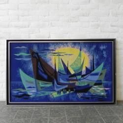 Geweven vintage schilderij...