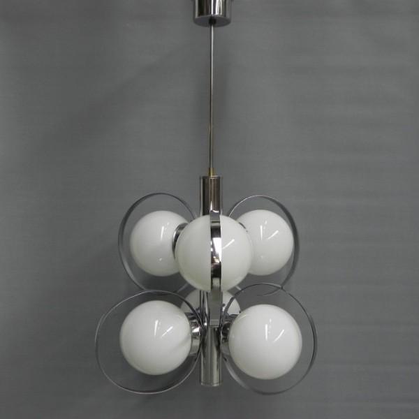 Verwonderlijk Vintage hanglamp met 6 glazen bollen, Vintage hanging lamp with 6 MW-57