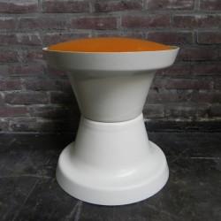 Vintage stool with orange seat