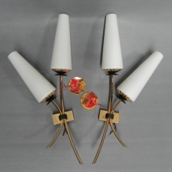 2 vintage wall lamps with...