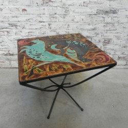 Gesigneerde vintage tegeltafel