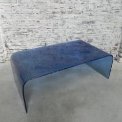 Blauw glazen salontafel in...