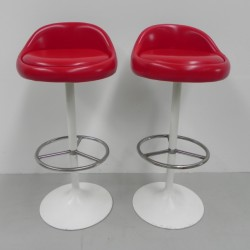 2 vintage bar stools with...