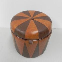Vintage pouf brown cognac