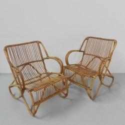 Set of 2 rattan armchairs