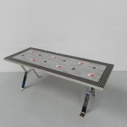 Tile table with chrome frame